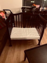 Dream On Me 4 in 1 Aden Convertible Mini Crib,Espresso with Mattress Washington, 20017