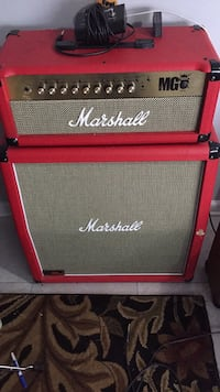 red and black Marshall guitar amplifier 50 km