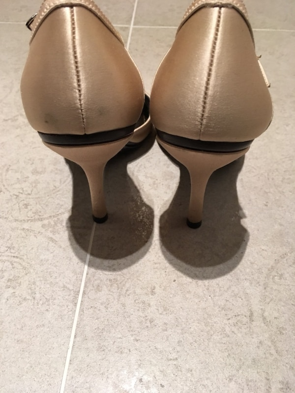 ca834b9b554 Used Bcbg champagne satin ankle-strap heels - size 8.5 for sale in ...