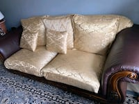 Three set Leather brown/gold couch set  Stafford, 22556