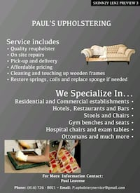 Free Pick Up and Delivere-Upholstery Service Toronto