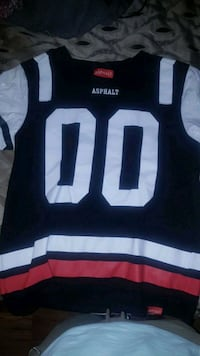 black, white, and red Asphalt 00 jersey shirt Thorold, L2V 4V8