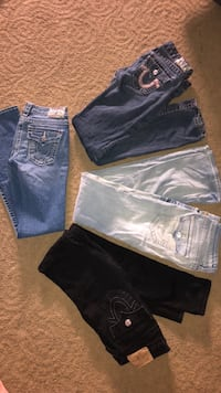 three blue and black denim jeans Washington, 20024