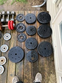 assorted round black and gray dumbbells Ypsilanti, 48198