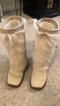 Pair of brown fur boots