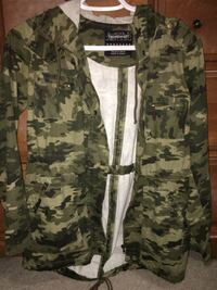Gray and black camouflage zip up jacket