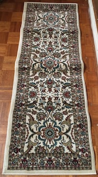 white, brown, and blue floral area rug Montgomery Village, 20886