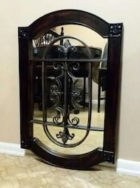 (Wood/Wrought Iron/Mirror) Wall Decor (Excellent Used Condition) Center Point