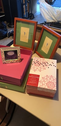 Three new Pottery Barn Honey Gallery Frame's, baby frame, unopened Memory Box and two new scrap boxes(pink and green)