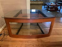 TV stand - wood frame with glass shelves Vienna, 22180