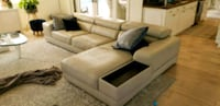 Grey used leather couch with extendable cushion Boca Raton, 33434