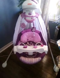 baby's pink and white cradle n swing
