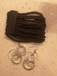 MAKE AN OFFER!!Brown Beaded Bracelet with Silver Hoop Earrings SPRUCEGROVE