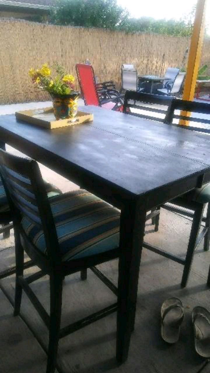 used patio table 4 chairs with new outdoor fabric for sale in rh us letgo com