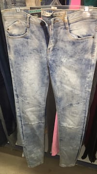 blue and white denim jeans