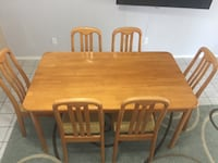 Rectangular brown wooden table with six chairs dining set Tucson, 85741