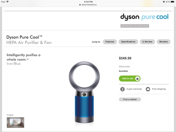 Dyson air purifier Fan NEW SEALED Box/ Don't waste my time with ANY offers $400 FIRM