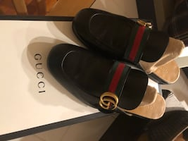 **GUCCI** Princetown Leather Slipper w/ Double G