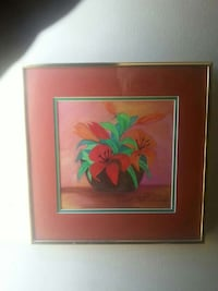 red and orange lilies in brown vase painting with brass steel frame Belleville, K8P 4E1