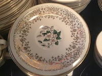 Round white and brown floral ceramic plate Norwich, N0J 1P0