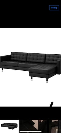 svart lær tufted sectional sofa Sandnes, 4318