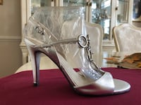 "Silver 4"" heels with metal top 7.5 Gaithersburg"