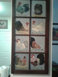 brown wooden frame with assorted roosters painting Williamsburg, 23188