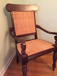 brown wooden framed white padded armchair Cicero