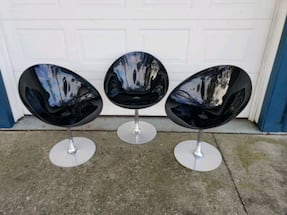 3 THREE Black Eros Lucite Chairs by Kartell