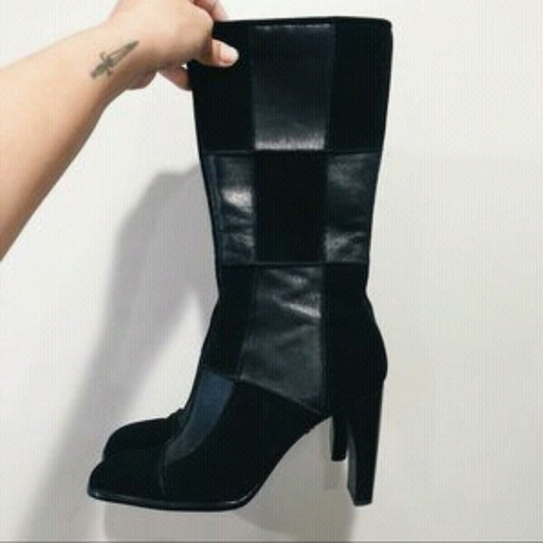 ME TOO LEATHER & SUEDE PATCHWORK BOOTS SZ 6.5