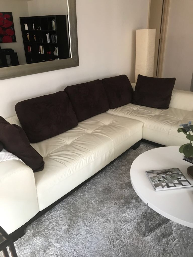 used off white leather sectional with brown suede pillows for sale rh us letgo com
