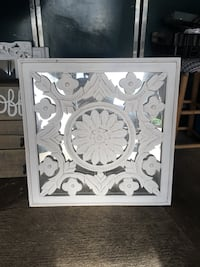 White wooden framed wall decor