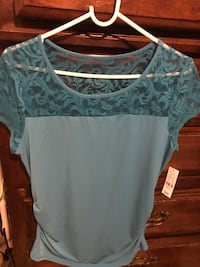 Blue shirt lace shoulders scrunched sides Hartly, 19953