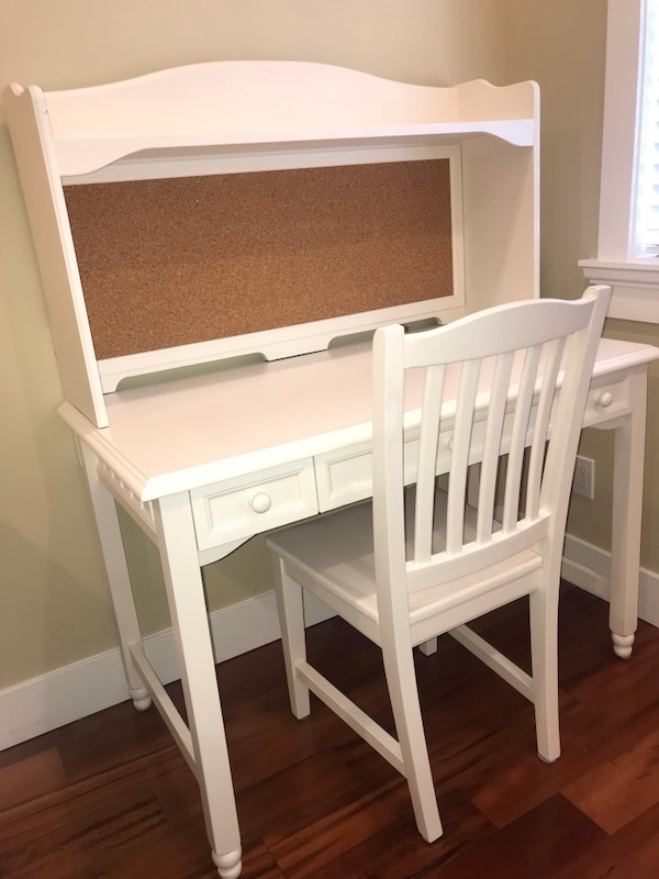 Solid Wood White Desk and White Chair