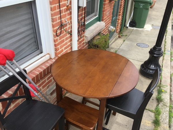 Tall table and 4 chairs + 2 crutches = FREE. Currently curbside outside 2005 Portugal St. Thank you. 76ecd003-e888-456c-9abf-f6823f80d0f8