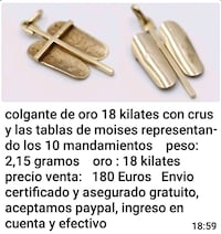 Colgante cruz oro 18kilates. Dos Hermanas, 41701