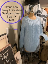 Brand new heavy knit cable sweater seafoam green size 1X