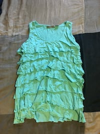Mint frilly top