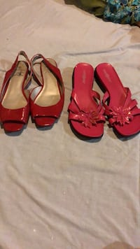 two pairs of red and black sandals Toronto, M1L