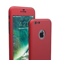 iPhone rojo 360 Funda + Cristal Templado