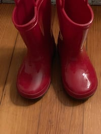 Red toddler rain boots