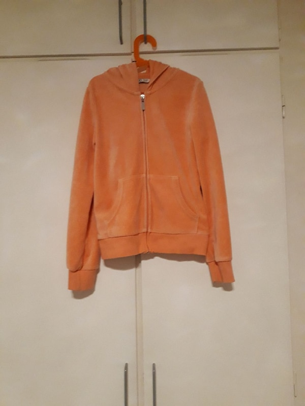 orange zip-up hoodie