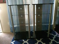 two brown wooden framed glass display cabinets 2243 mi