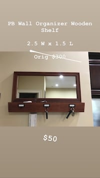 Pottery Barn Mirror with Pockets & Key Ring Organizer. Dark Brown Wood Red Bank