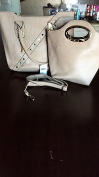 White and black leather tote bag San Diego, 92113