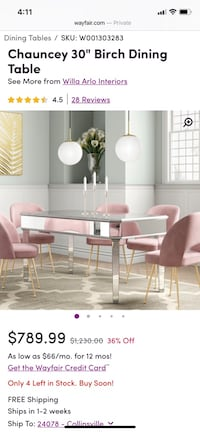 50% off Mirrored Dining Table (chairs not included) Ashburn, 20147