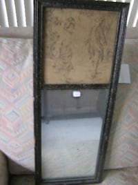 HANGING MIRROR W/TAPESTRY ANTIQUE