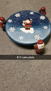 blue, white, and red Santa Claus cake plate