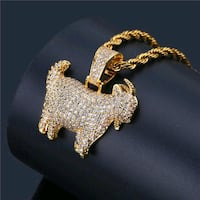 Iced out gold goat pendent