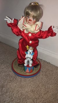 Porcelain Clown Doll with Dog Cary, 27513